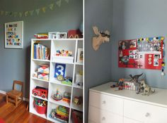 Child's bedroom in Resene Clouded Blue from the Karen Walker Collection with red accents