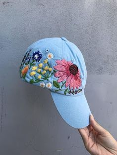 Hand embroidered hiking hat floral design baseball hat for women custom hat for girls embroidered flowers hat with custom embroidery design - Hat For Women - Ideas of Hat For Women - Hand Embroidered Hat / Custom Embroidered Hat / Floral Hat Embroidery, Custom Embroidery, Embroidery Stitches, Embroidery Designs, Custom Embroidered Hats, Embroidered Flowers, Embroidered Clothes, Bone Bordado, Hiking Hat