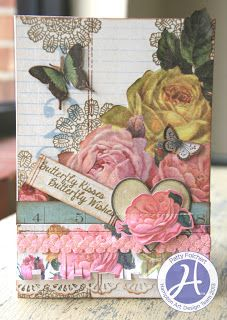Hampton Art Blog card for Mom using KI Memories paper Vintage Charm and Hampton Art stamps