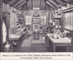 1911 Farm Kitchen Source: Ladies Home Journal From the Antique Home Style collection. a bit rustic but some good principles Farm Kitchen Ideas, Old Kitchen, Vintage Kitchen, Kitchen Sink, 1920s Kitchen, Kitchen Things, Kitchen Cabinets, Old Photos, Vintage Photos