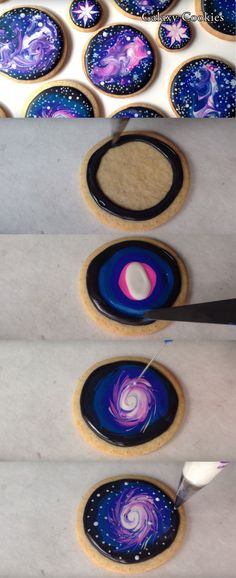 These galaxy cookies are beautiful! What a fun way to decorate cookies and learn about space! Kids will love these!