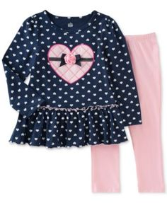 Kids Headquarters Little Girls' 2-Pc. Dot-Print Tunic & Leggings Set