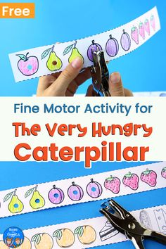 The Very Hungry Caterpillar activity - a fun way for preschoolers to practice fine motor and pre-reading skills. Include a free printable! Caterpillar Preschool, The Very Hungry Caterpillar Activities, Fine Motor Activities For Kids, Motor Skills Activities, Toddler Activities, Pre Reading Activities, Free Preschool, Preschool Printables, Preschool Classroom