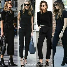 All Black Dressy Outfits, All Black Outfit For Work, Business Casual Outfits For Women, Professional Outfits, Workwear Fashion, Fashion Outfits, Shrug For Dresses, All Black Fashion, All Black Looks