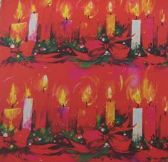 Vintage 1970's Christmas Wrapping Paper, Lighted Candles on Hot Pink