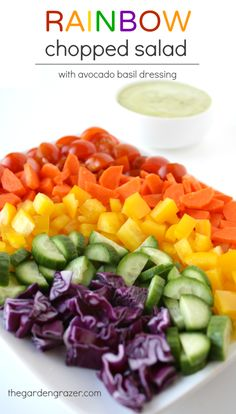 Rainbow Chopped Salad with Creamy Avocado Lemon Basil Dressing (vegan, gluten-free)