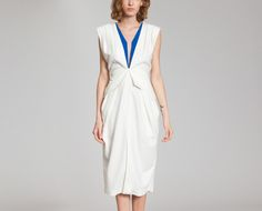 Robe Taille Haute à Plis Blanc Nathalie Fordeyn en vente chez L'Exception