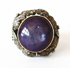 Large Sapphire & Diamonds Vintage Ring