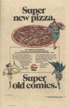Pizza Hut ad, 1977 ~ Old School Ads Star Comics, Old Comics, Vintage Comics, Cosmic Comics, Retro Advertising, Vintage Advertisements, Vintage Ads, New Pizza, Love Pizza