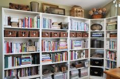 Several bookcases connected together provide a LOT of storage space for books…