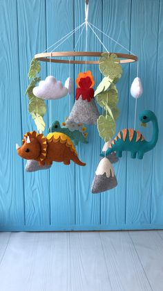 dinosaur nursery Baby mobile Dino Made with love and care Every detail is handmade. This mobile will become an ideal element of a baby room decor. It will bring joy to the baby a Dinosaur Room Decor, Dinosaur Bedroom, Dinosaur Crafts, Dinosaur Decorations, Baby Nursery Decor, Boy Nursery Colors, Baby Kind, Mobiles, 6 Inches