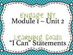 """This PDF file contains signs for student learning goals for Engage NY's 5th grade English Language Arts curriculum.  This file is for Module 1, Unit 2.  This unit covers Esperanza Rising.The learning goals are written in student language, using """"I can"""" statements and are ready to post in your classroom!Keep your student learning goals up and easy to view with no prep work!"""