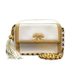 Vintage Chanel White & Brown Quilted Leather Fringe Mini Shoulder Bag