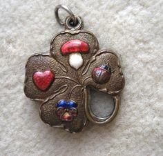 Antique enamel Pansy Heart mushroom Ladybug folding Charm (close)