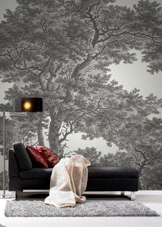 Awesome Black and White Wallpaper Designs for Living Room - Black and White Wallpaper Designs for Living Room Luxury Tree Wallpaper Black and White Wallpaper Passepartout Interior Wall Painting Designs, Wall Stencil Designs, Interior Walls, Paint Designs, Wallpaper Designs, Design Living Room Wallpaper, Living Room Designs, Concrete Wall Panels, Retaining Wall Design