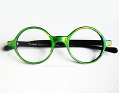 1960's French Green Iridescent Mosaic Round Eyeglass Frames by BackThennishVintage, $145.00