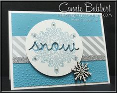 Flurry of Wishes card for the Grand Vacation Achievers Blog Hop, inlaid words technique, snowflakes, created by Connie Babbert, www.inkspiredtreasures.com