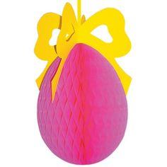 Roze paasei decoratie van crêpepapier met een gekleurde strik op de bovenzijde. De decoratie kan uitgevouwen worden tot een ei en is brandvertragend.