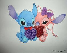 Stich and angle Lelo And Stitch, Lilo Y Stitch, Cute Stitch, Cartoon Wallpaper, Cute Disney Wallpaper, Cute Disney Drawings, Cartoon Drawings, Cute Drawings, Disney Kunst