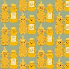 Honey Bears Blue fabric by heidikenney on Spoonflower - custom fabric
