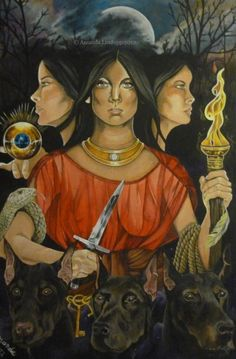 Hécate (souvent confondu à Séléné et Artémis), Déesse des nuits et des actes obscurs. Elle vie aux Enfers.