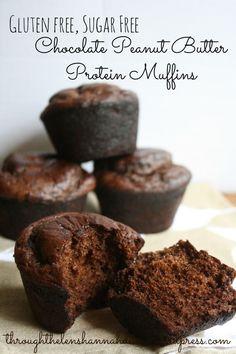 Chocolate Peanut Butter Protein Muffins