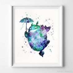 Totoro Print Totoro Watercolor Art Type 2 Ghibli by InkistPrints Baby Wall Decor, Office Wall Decor, Room Decor, Totoro Poster, Kunst Poster, My Neighbor Totoro, Watercolor Artwork, Watercolor Print, Oeuvre D'art