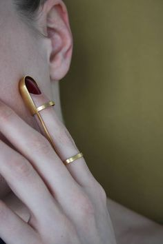HOKO, Index ring, ring, stainless steel, gold plated - the jewellery in use - In…