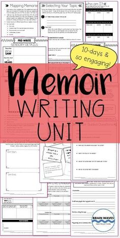 This incredibly popular writing unit guides students through a study of mentor texts before they write their own memoirs. Filled with engaging ways for students to develop topic ideas, detailed planning pages, revision mini-lessons, and editing checklist Writing Strategies, Writing Lessons, Teaching Writing, Writing Activities, Writing Tips, Writing Styles, Teaching Strategies, Teaching Tools, Memoir Writing