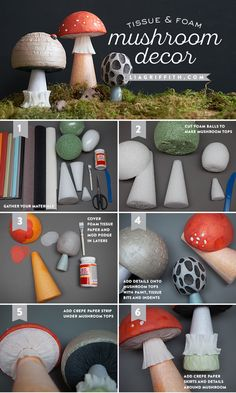 DIY Tissue & Foam MushroomTutorial from MichaelsMakers Lia Griffith