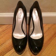Aldo Black Patent Pumps Black patent platform pumps. 5 inch heel. Makes your legs look KILLER! Worn less than 5 times. In excellent condition. ALDO Shoes Heels