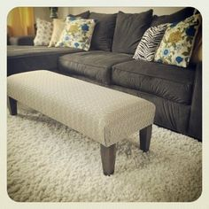 handmade upholstered ottoman/bench, 15x48x16 high, custom orders available