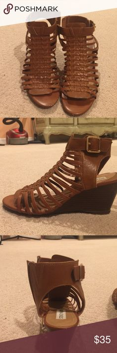 Steve Madden Gladiator Sandals These gladiators have only been worn a few times but they do have some worn out part by the toes. Not noticeable though. These have a small wedge. Steve Madden Shoes Sandals