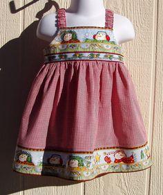 Snowman Faces Border Dress size 12 months by ArtsyCrafty on Etsy, $22.00