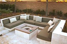 Nova Vita Outdoor Sectional Fire Pit Upholstered Seating How To Choose Curtains Or Blinds For Your H Fire Pit Seating, Backyard Seating, Backyard Patio Designs, Fire Pit Backyard, Garden Seating, Outdoor Seating, Outdoor Sectional, Outdoor Decor, Backyard Landscaping