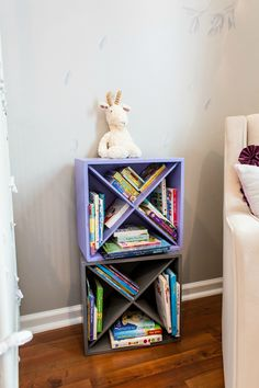 Project Nursery - DIY Wine Crate Bookshelves