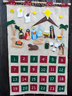 Felt Nativity Advent Calendar - Add one piece every day until Christmas.  Free pattern!