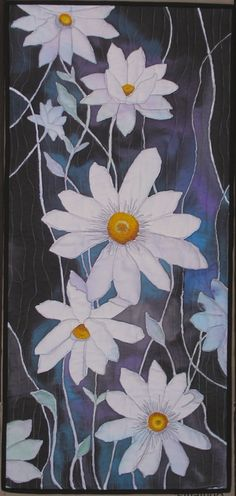 White Clematis Art Quilt Wall Hanging Hand by paintedquilts