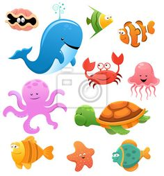 Wall Mural Sea Animal Set