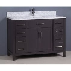 Carrera, Golden Elite Grey Transitional Bathroom Vanity - The Vanity Store Canada Best Bathroom Vanities, Single Bathroom Vanity, Master Bathroom, Single Vanities, Countertop Options, Black Sink, Porcelain Sink, Modern Vintage Homes, Undermount Sink