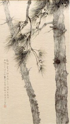New japanese pine tree drawing Ideas Art Painting, Japanese, Ink Art, Culture Art, Japanese Ink Painting, Art, Tree Drawing, Eastern Art, Ink Painting