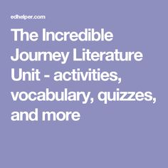 The Incredible Journey Literature Unit - activities, vocabulary, quizzes, and more