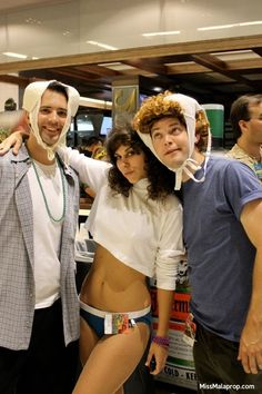 Weird Science costume, great for an 80s party or Halloween for a pair of guys or a group costume as shown with a gal as Kelly LeBrock. http://www.liketotally80s.com/2015/09/80s-costume-weird-science/