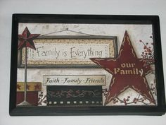 Primitive Country Faith Family Friends Framed Wall Decor for sale online Primitive Country Crafts, Primitive Wall Decor, Prim Decor, Primitive Furniture, Primitive Windows, Primitive Decorations, Country Decor, Diy Craft Projects, Decor Crafts