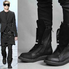 Stylish Designer Men Black Leather Gothic Cowboy Fashion High Boots  SKU-1100147