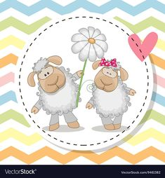 Greeting card with two Sheep vector image on VectorStock Cute Hippo, Cute Sheep, Frosch Illustration, Sheep Vector, Scrapbook Images, Preschool Arts And Crafts, Cardboard Box Crafts, Blue Nose Friends, Cute Cartoon Animals