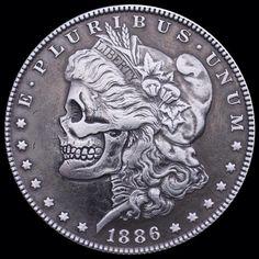 Hobo nickel art – Morgan Silver Dollar Skull (by Seth Basista Engraving) Old Coins, Rare Coins, Hobo Nickel, Coin Art, Metal Tattoo, Skull Fashion, Coin Ring, Gold Bullion, Morgan Silver Dollar