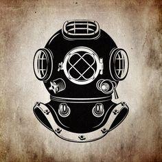 Old style diver helmet. #diver #logo #vector #shutterstock #image #brand #sea…