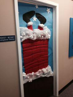 Looks like Santa is stuck in Lindsey's door.