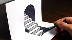 How to draw 3D steps on paper. Easy trick art optical illusion. Materials used: 110lb cardstock, sharpie, HB pencil, scissors Thank you for watching and ...…